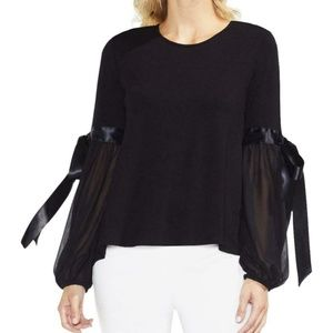 Vince Camuto Black Chiffon Long Tie Sleeves Small